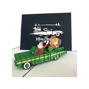 Santa Cadillac Pop-up Christmas Card by Pop-up Pigeon at The Decorcafe - Cut out Image
