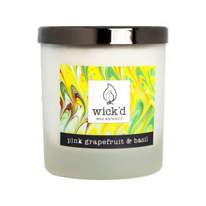 Wick'd Wax Botanics Pink Grapefruit & Basil Candle at The Decorcafe - Cutout Image