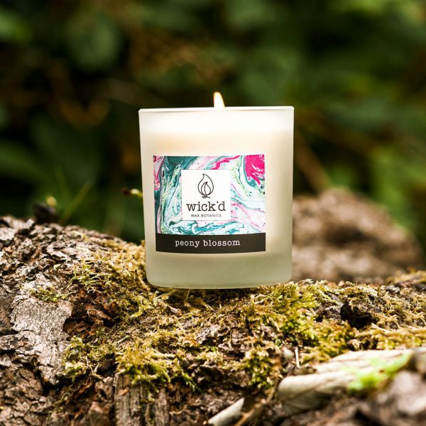 Wick'd Wax Botanics Peony Blossom Candle at The Decorcafe - Lifestyle Image