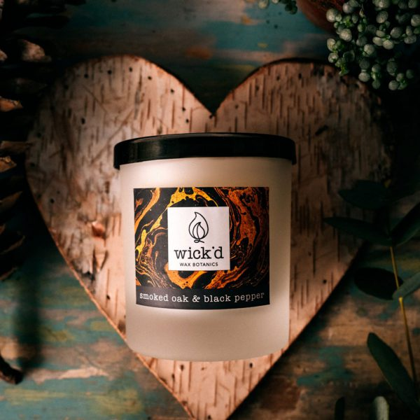 Smoked Oak & Black Pepper Candle by Wick'd Wax at The Decorcafe - Lifestyle Image