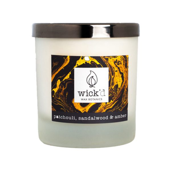 Wick'd Wax Botanics Patchouli, Sandalwood & Amber Candle at The Decorcafe - Cutout Image