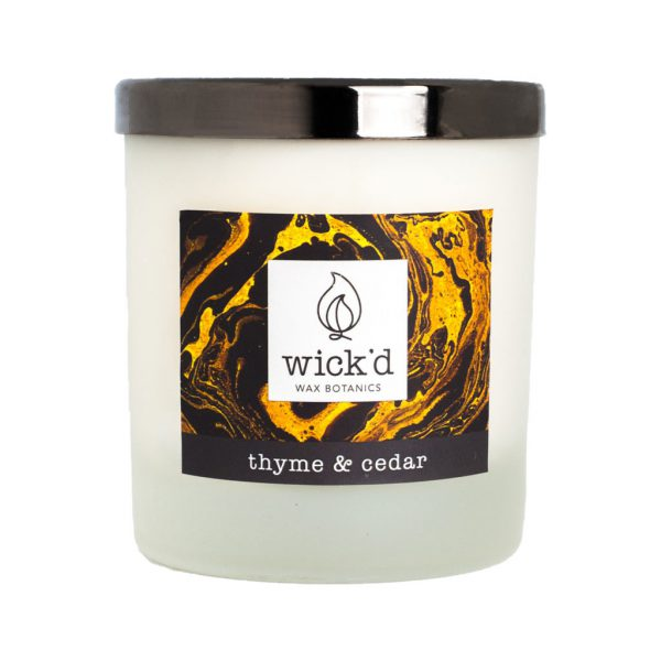 Wick'd Wax Botanics Thyme & Cedar Candle at The Decorcafe - Cutout Image