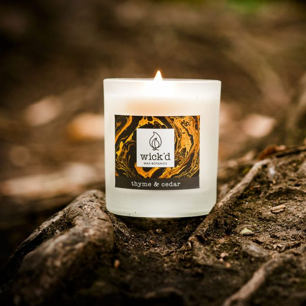 Wick'd Wax Botanics Thyme & Cedar Candle at The Decorcafe - Lifestyle Image