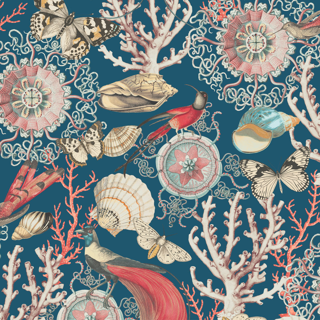 Bahama Blue Wallpaper by Elizabeth Ockford at The Decorcafe - Detail Image