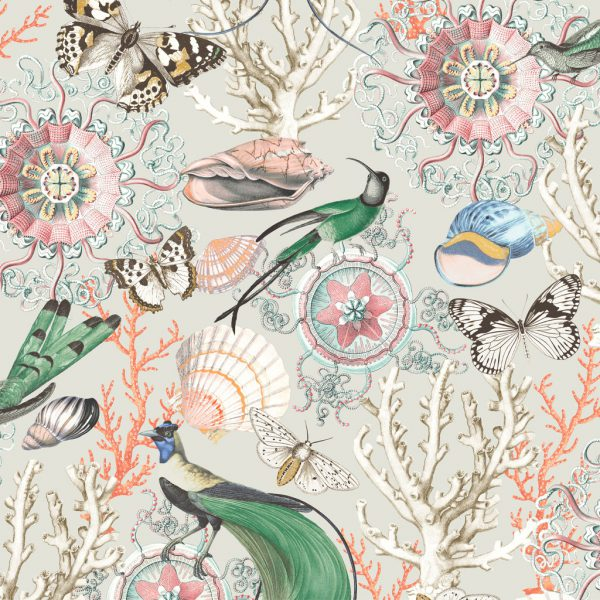 Bahama Stone & Green Wallpaper by Elizabeth Ockford at The Decorcafe - Detail Image