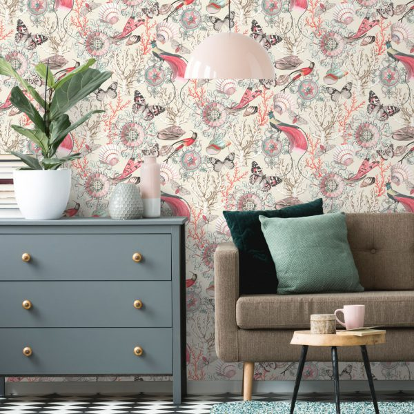 Bahama Cream/Red Wallpaper by Elizabeth Ockford at The Decorcafe - Lifestyle Image