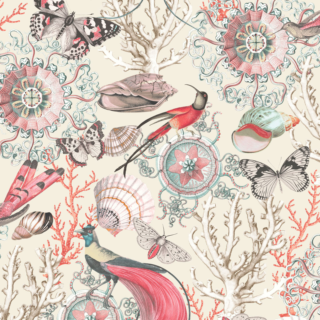 Bahama Cream/Red Wallpaper by Elizabeth Ockford at The Decorcafe - Detail Image