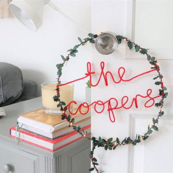 Personalised Holly Light Wreath by Melanie Porter at The Decorcafe - Lifestyle Image