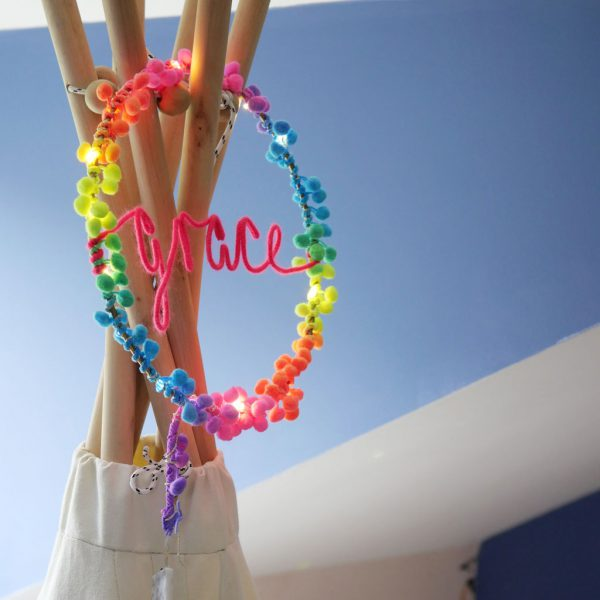 Personliased Neon Rainbow Fairy Light Hoop by Melanie Porter at The Decorcafe - Lifestyle Image
