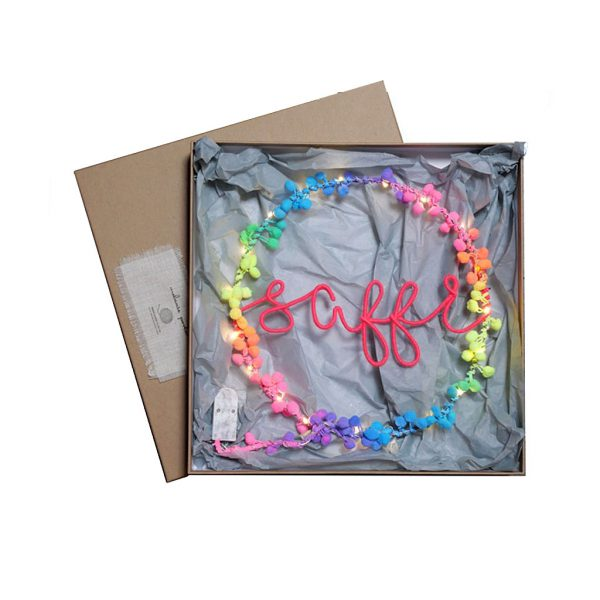 Personliased Neon Rainbow Fairy Light Hoop by Melanie Porter at The Decorcafe - Gift Box mage