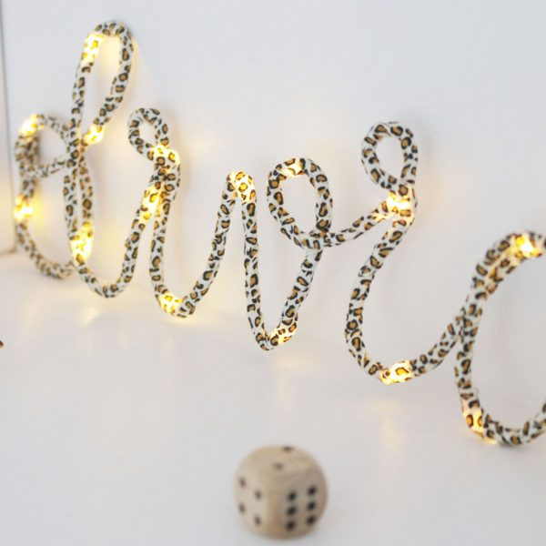 Leopard Print Name in Lights by Melanie Porter at The Decorcafe - Lifestyle Image