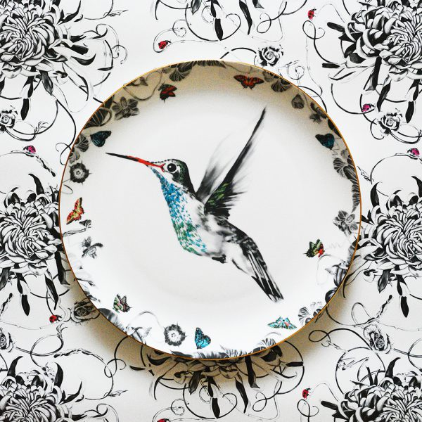 Hector Hummingbird Decorative Plate by Susannah Weiland Collections at The Decorcafe - Lifestyle Image