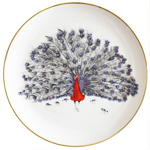 Patrick Peacock Decorative Plate by Susannah Weiland Collections at The Decorcafe - Cutout Image