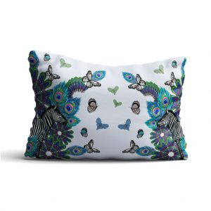 Zebra Peacock Cushion by Sapphire Summers at The Decorcafe - Cutout Image
